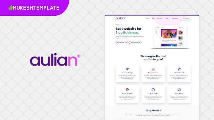 Aulian - Premium Landing Page Blogger Template