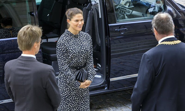 Crown Princess Victoria wore a new belted turtleneck midi dress from & Other Stories. Quidam clutch. Gianvito Rossi suede pumps