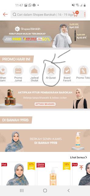 Halaman utama Fitur Shopee Barokah