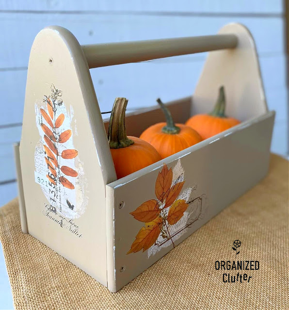 Photo of a toolbox with fall decor makeover.