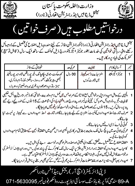 Female Junior Executive Latest Jobs in NADRA Sukkur October 2021 Latest National Database and Registration Authority NADRA