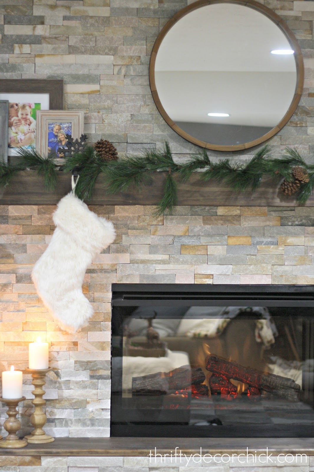natural stacked stone tile around fireplace