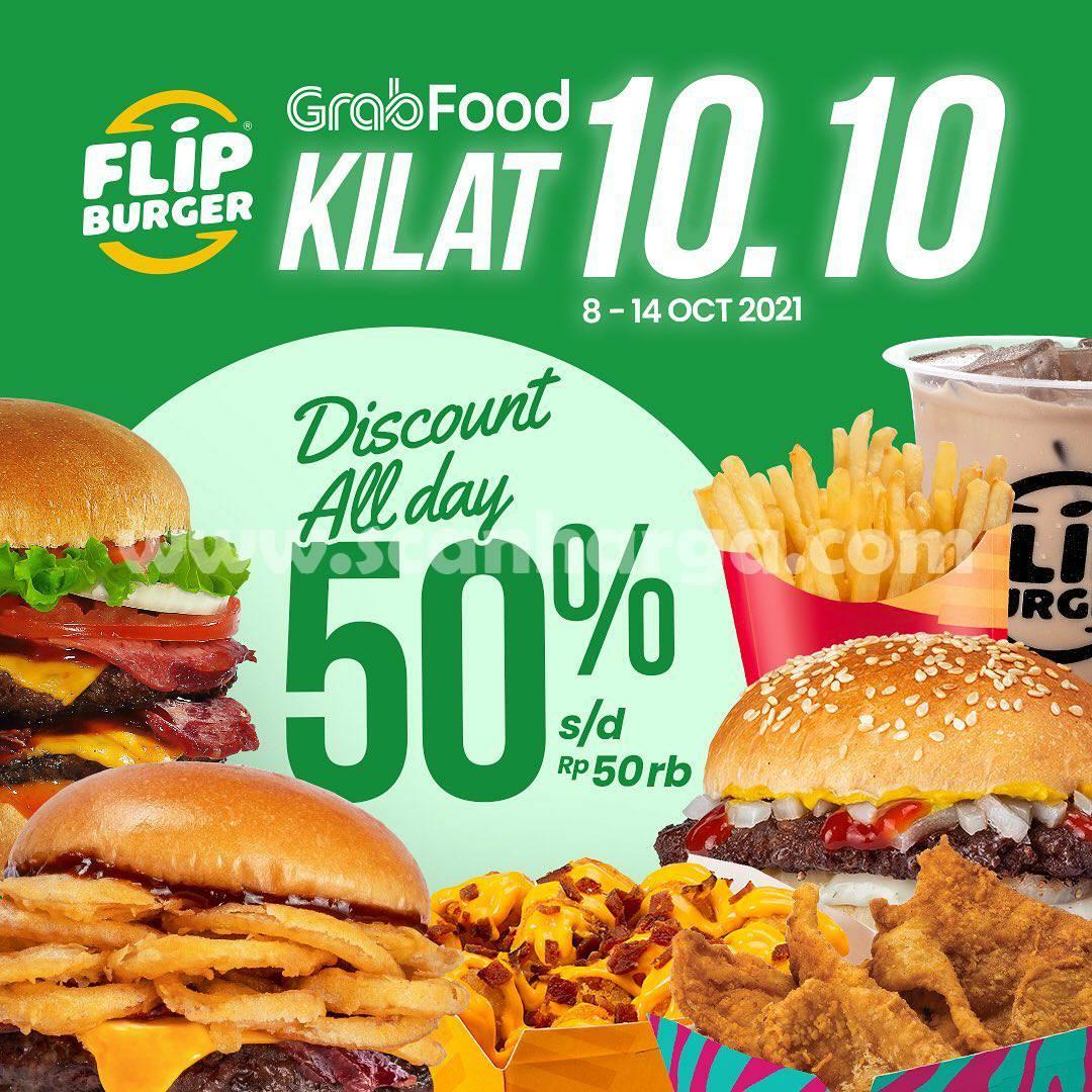 Promo FLIP BURGER Diskon 50% via Grabfood