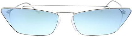 Blue entic Prada Cat-Eye Sunglasses (Blue Mirror Lens and Silver Metal Frame)