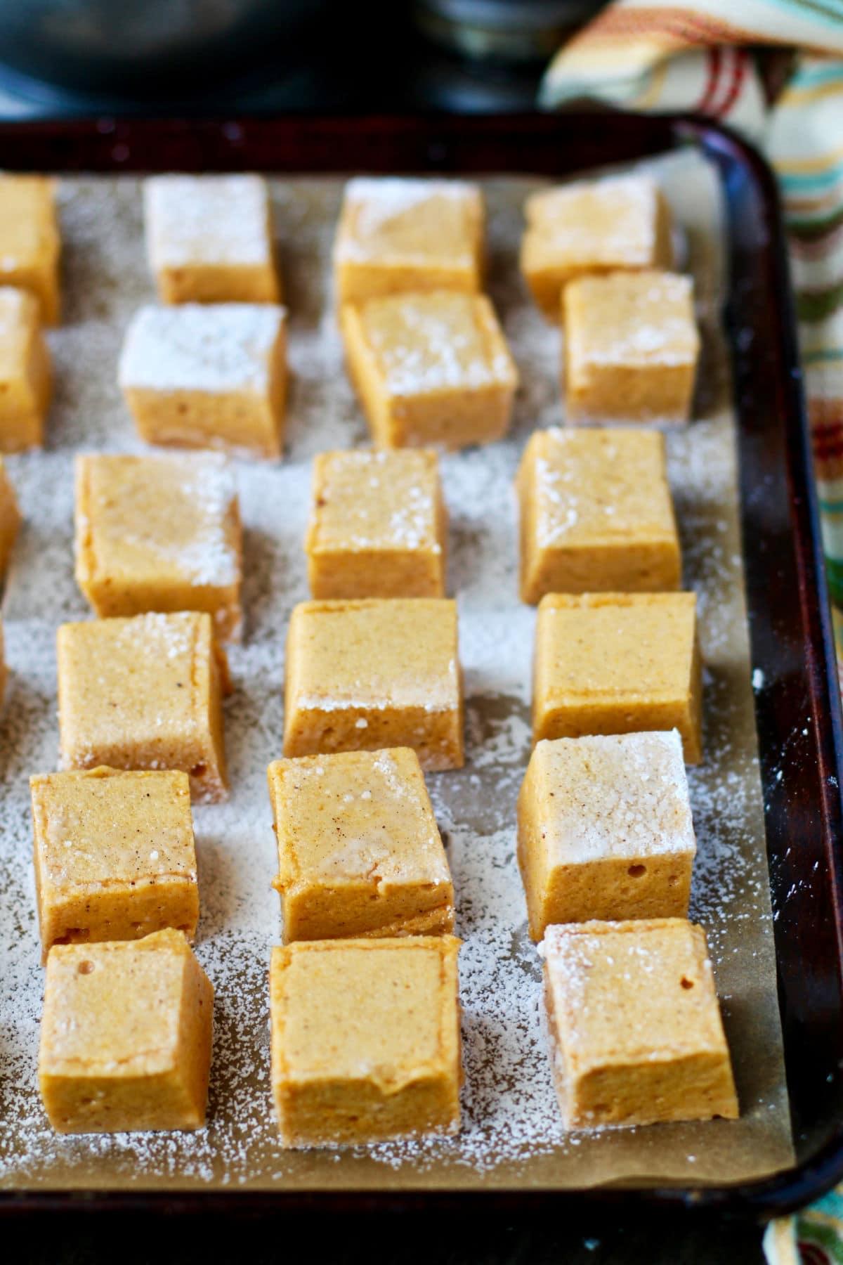 Pumpkin Spice Marshmallows in a sheet pan.