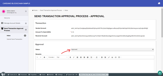 Sending ADA to another account via an approval process
