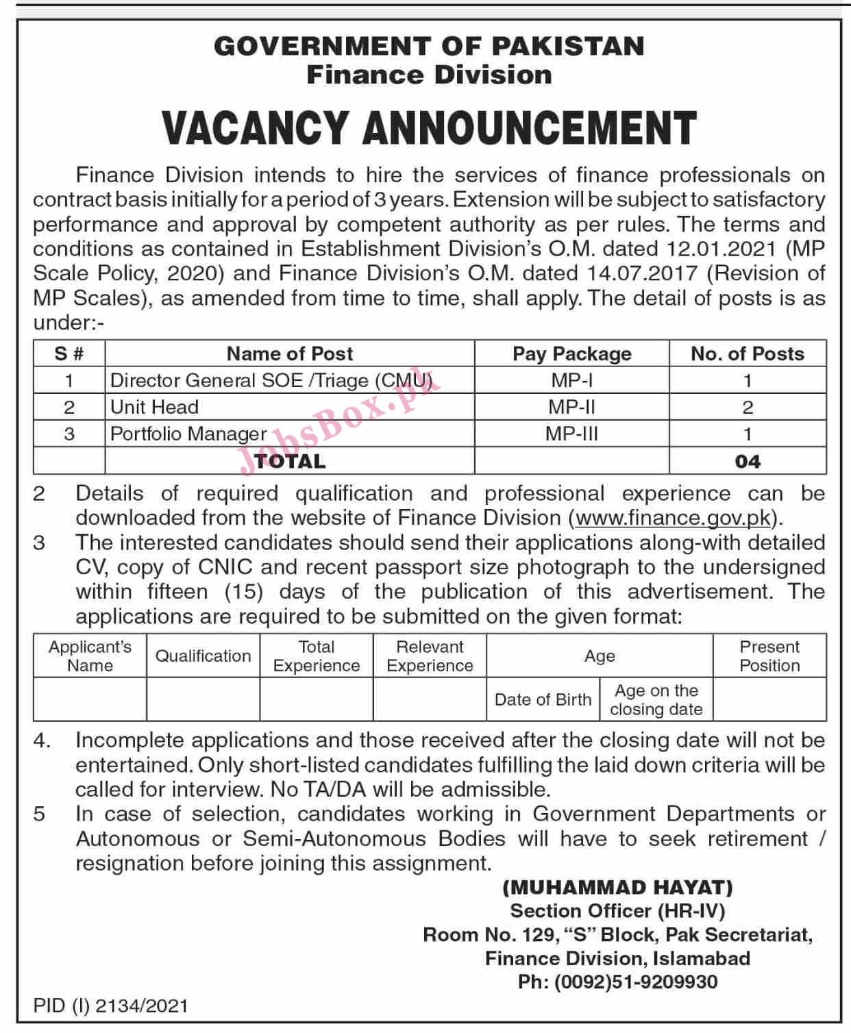 Finance Division Government of Pakistan Jobs 2021 Latest