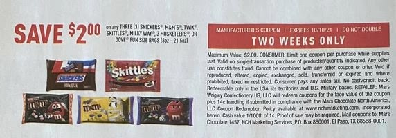"""Snickers, M&M's, Twix, Skittles, Milky Way, 3 Musketeers or Dove Fun Size Bags Coupon from """"SAVE"""" insert week of 9/26/21."""