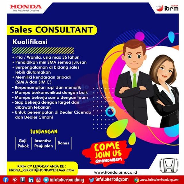 Lowongan Kerja Honda IBRM Bandung & Cimahi Agustus 2021