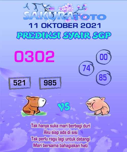 sakura SGP Senin 11 Oktober 2021