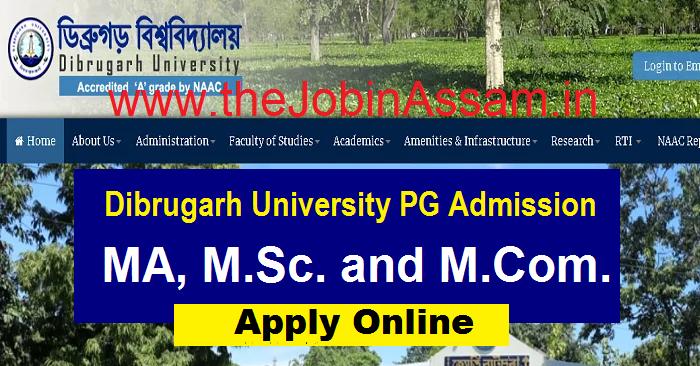 Dibrugarh University PG Admission 2021