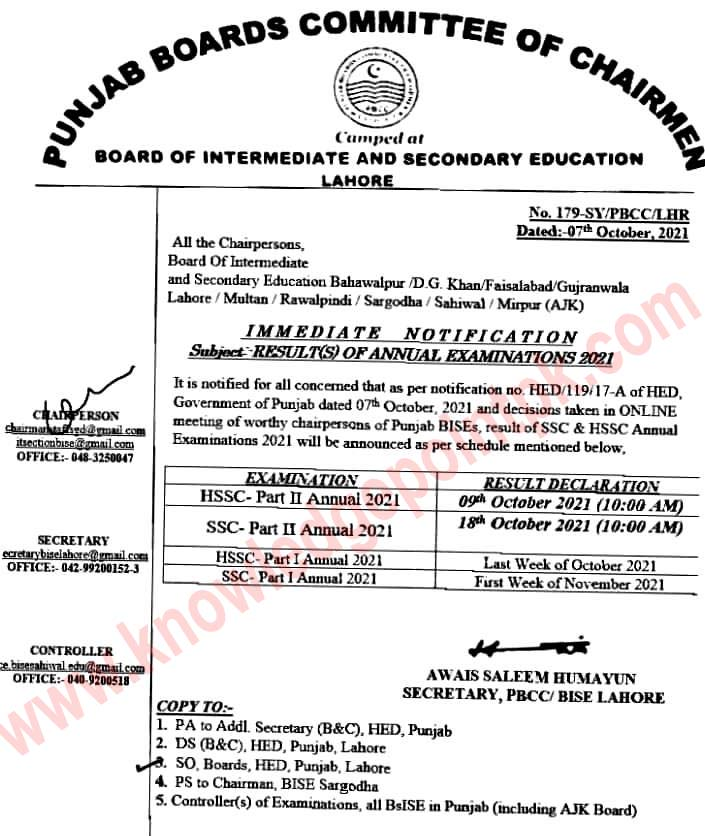 HSSC Annual Examination, 2021 Result will be Announced on 09-October-2021  at 10:00 AM (Insha Allah)