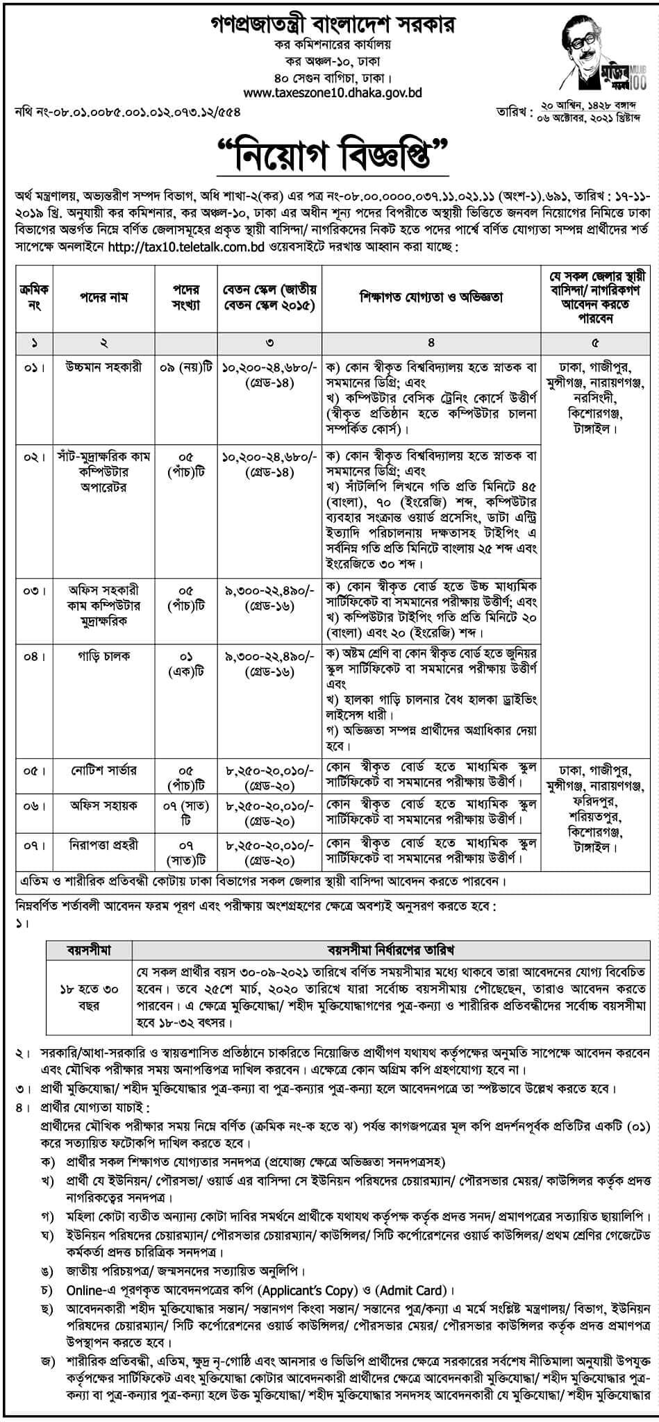 Tax Commissioner office Job Circular image 2021
