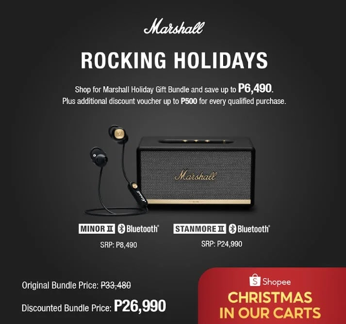 Enjoy up to P6,490 off on Shopee Marshall Holiday Gift Bundle during Marshall Rocking Holiday