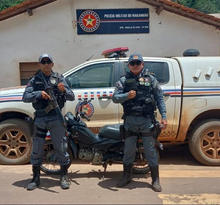Polícia Militar de Marajá do Sena recupera motocicleta com restrição de roubo/furto