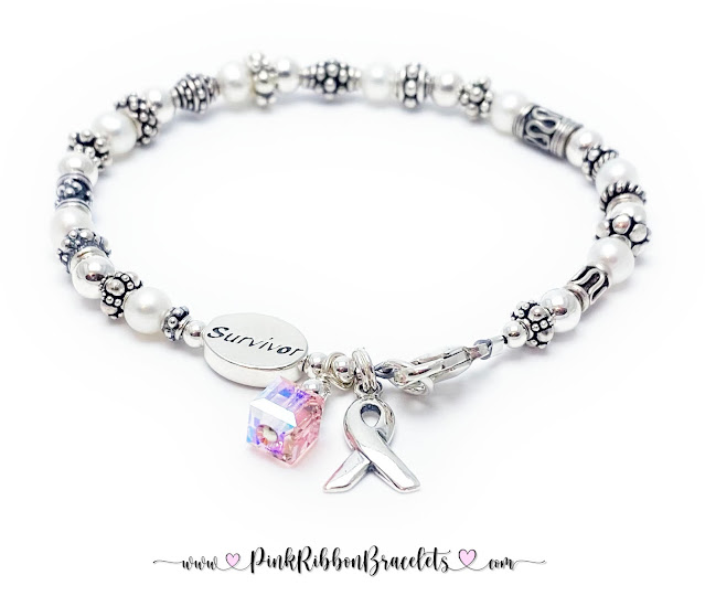 Pink Ribbon Bracelet with a Survivor Bead - .925 sterling silver, Swarovski Crystals, Freshwater Pearls & Bali Beads