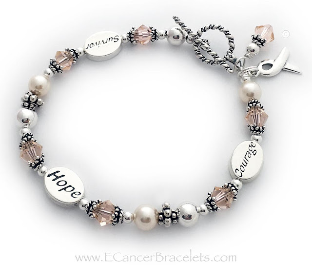 Endometrial, Uterine and Vaginal Cancer Survivor Peach Ribbon Bracelet