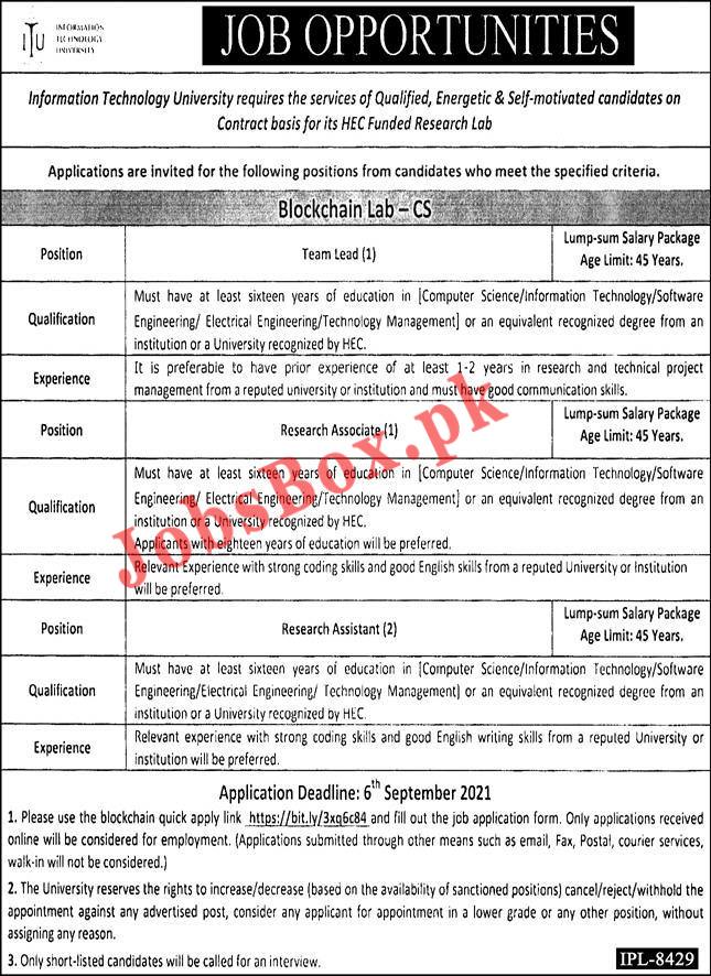 ITU Lahore Jobs 2021 – Information Technology University – Apply Online visit http://jobs.itu.edu.pk