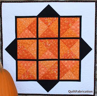 mini quilt pattern-orange quilt-beginner quilt-quarter square triangle quilt-fall quilt-fall decoration-Halloween decoration