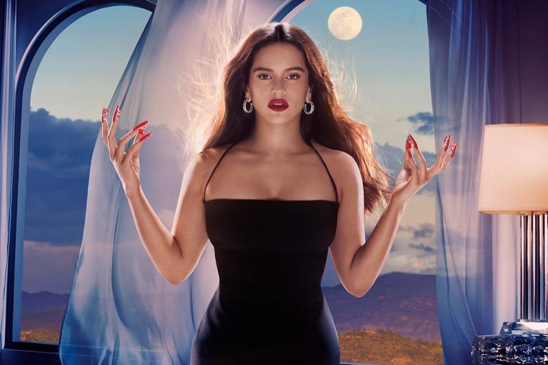 Rosalia shows off bold nail designs for MAC Cosmetics Aute Cuture campaign.