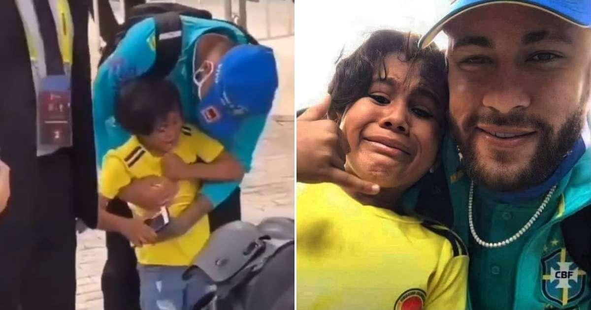Neymar con enternecedor gesto con un niño colombiano