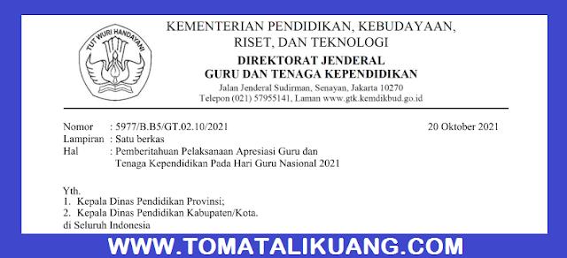 Pengumuman Apresiasi Guru dan Tenaga Kependidikan GTK Inspiratif 2021 PDF