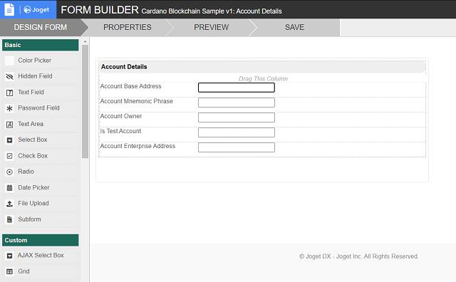 Account Details - Form Design
