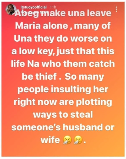 Leave Maria alone, Many of una dey do worse on a low key- BBNaija star, Tuoyo slams those criticizing Maria for snatching another woman's husband