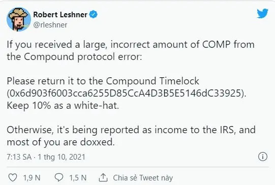 Tweet from the founder of the DeFi Compound platform.