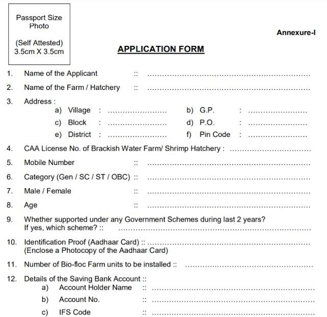 Odisha Biofloc Tech Fish Farming Scheme 2021 Application Form PDF   Subsidy for Intensive Shrimp & Fish Farming through Bio-Floc Technology