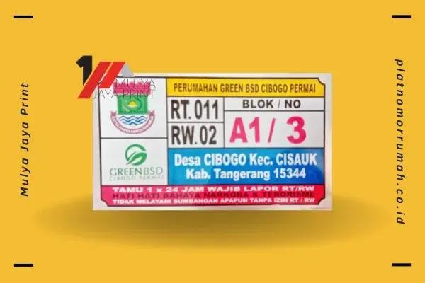 Desain Plat Nomor Rumah Perum. Green BSD Cibogo Permai