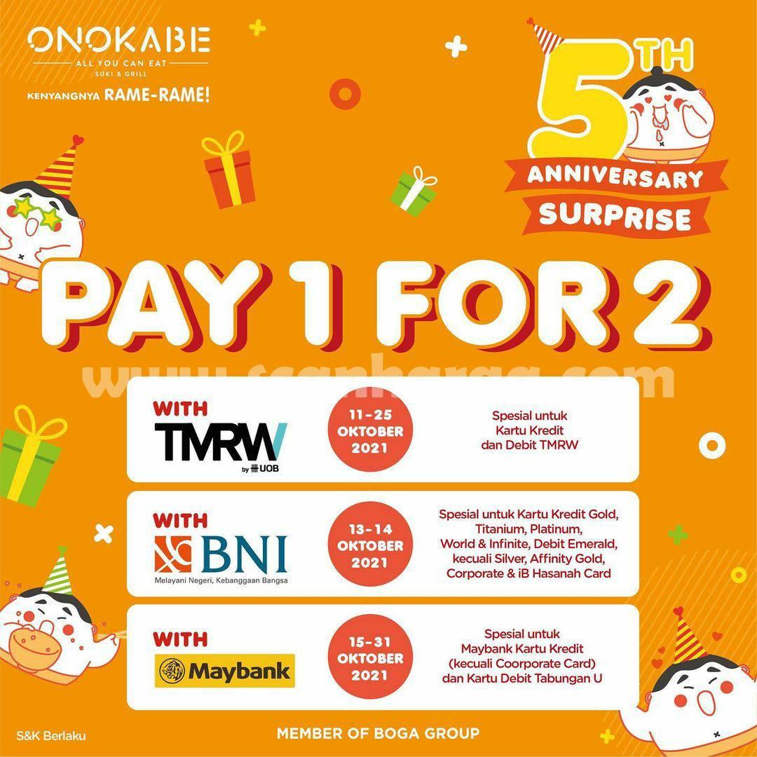 ONOKABE Anniversary Promo Pay 1 For 2 dengan Kartu Kredit BNI