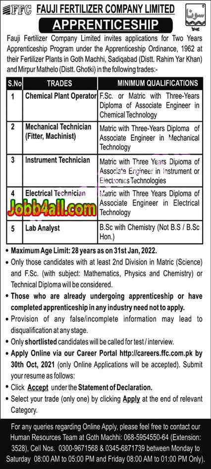 Latest Jobs Pakistan FFC Apprenticeship Program 2021