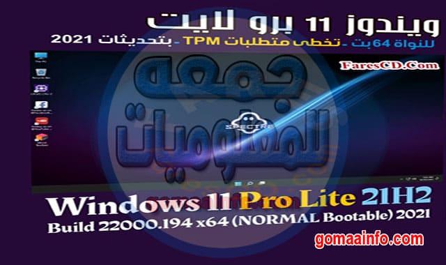 ويندوز 11 برو لايت Windows 11 Pro Lite 21H2