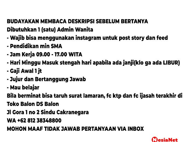 Lowongan Kerja DS Balon Sindu Cakranegara Mataram Lombok NTB