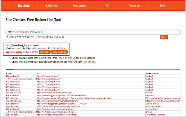 deadlinkchecker, how to find broken links,