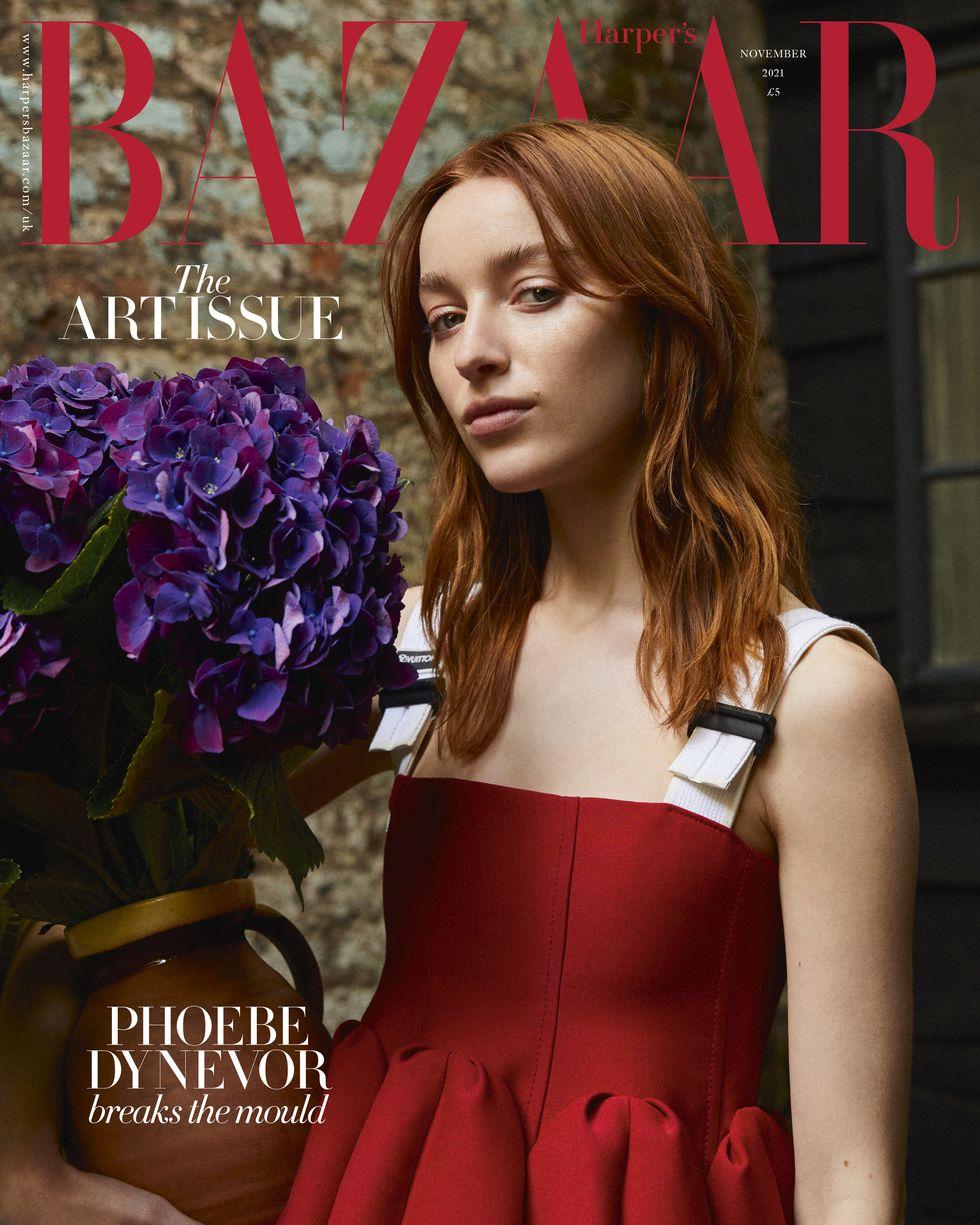 Phoebe Dynevor poses for Harper's Bazaar UK November 2021
