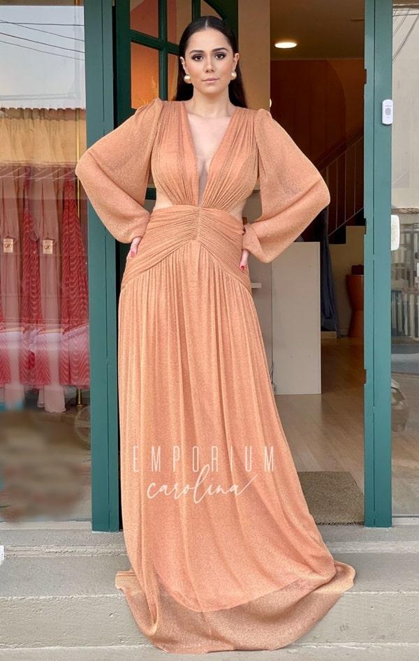 vestido longo terracota com brilho para madrinha de casamento