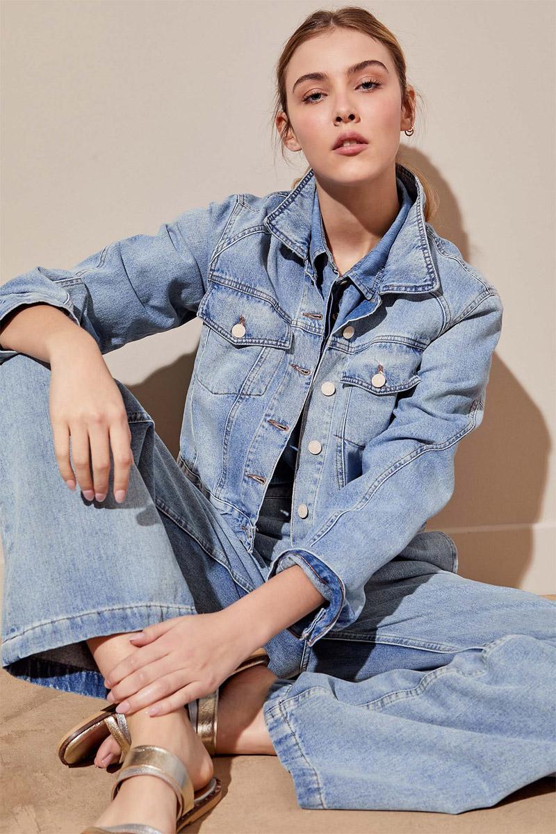 flare jeans verano 2022 y campera de jean 2022 mujer