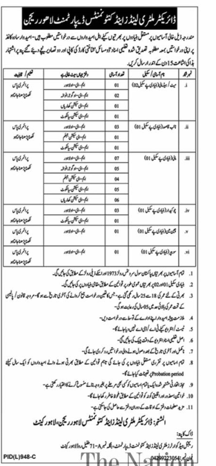 Military Lands and Cantonments Department Jobs 2021 in Pakistan