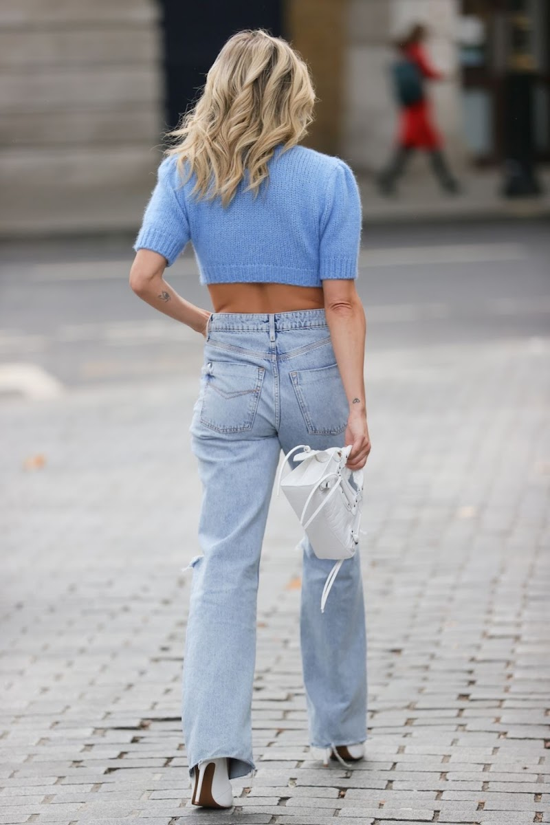 Ashley Roberts Clicked in a Crochet Knitted Top and Ripped Denim at Heart Radio in London 28 Oct-2021