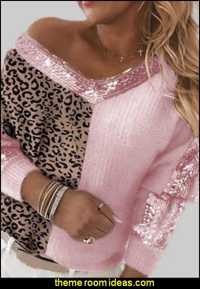 Sweater Jumper Glitter Knitted Leopard  womens fashion girls tops
