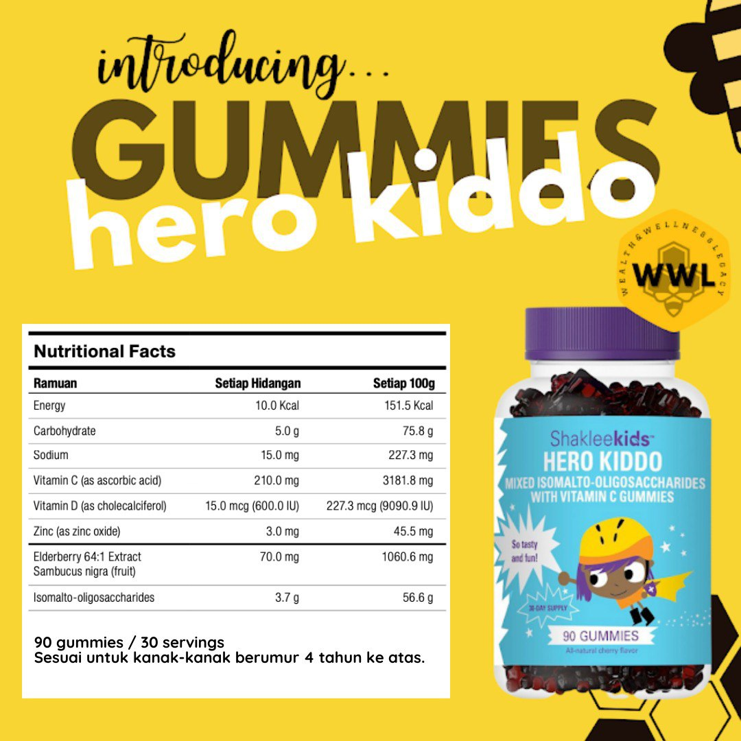 Produk Baru Shaklee untuk Kanak-Kanak Hero Kiddo Shaklee Fakta Nutrisi