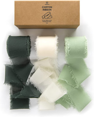 Green Chiffon Ribbons for DIY Crafts and Party Decorations