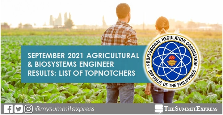 TOP 10 PASSERS: September 2021 Agricultural Engineering board exam result