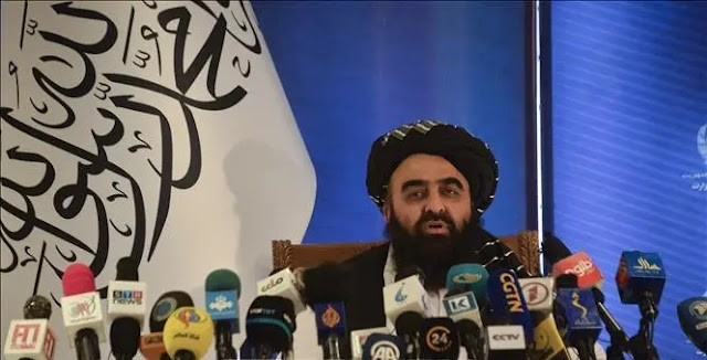 Acting Foreign Minister of the newly formed interim government in Afghanistan Amir Khan Muttaqi speaks at a press conference in Kabul September 14, 2021. Photo: AFP