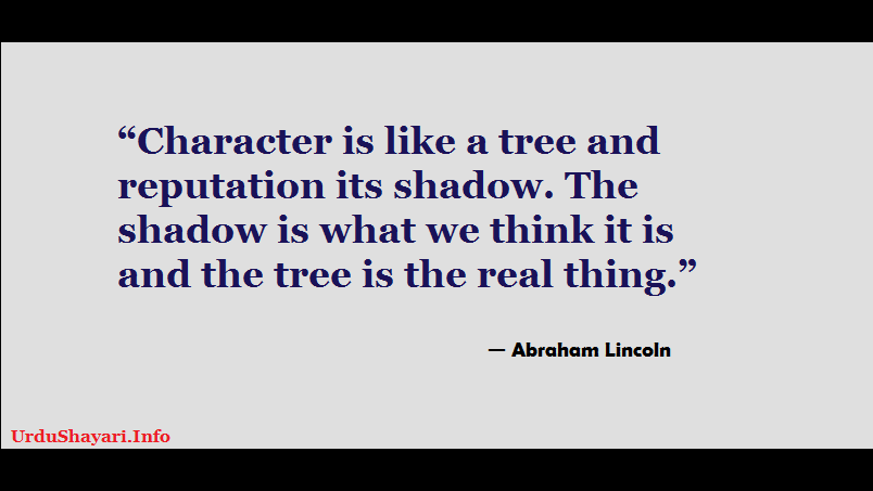 Abraham Lincoln Quotes on Character  - character is like a tree quote