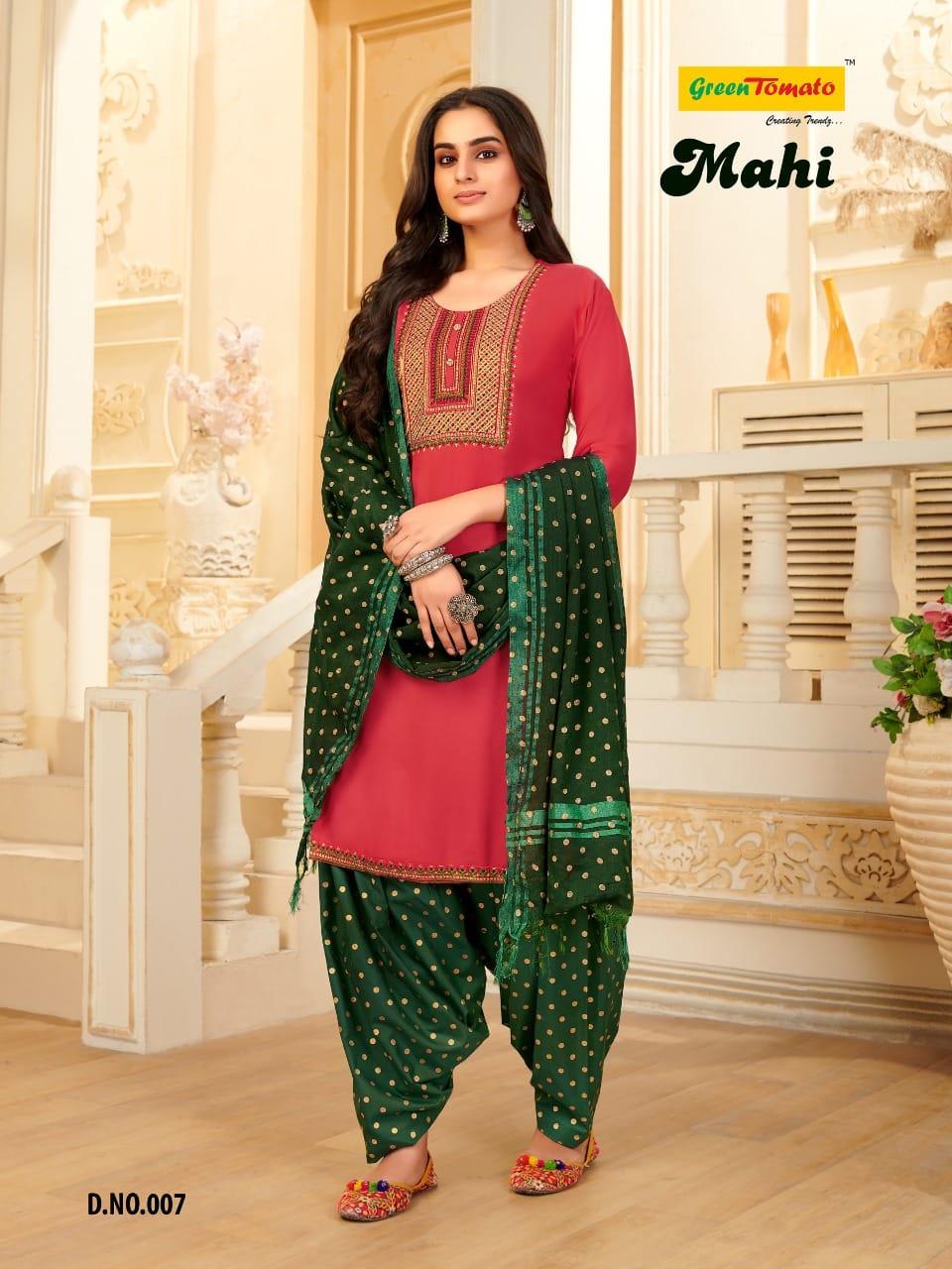 Green Tomato Mahi Readymade Patiyala Suits Catalog Lowest Price