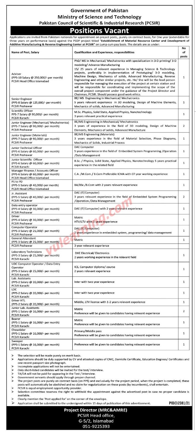 Pakistan Council of Scientific & Industrial Research PCSIR Jobs 2021