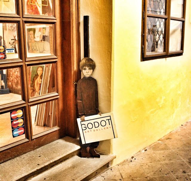 Godot Art gallery sign Prague Old Town